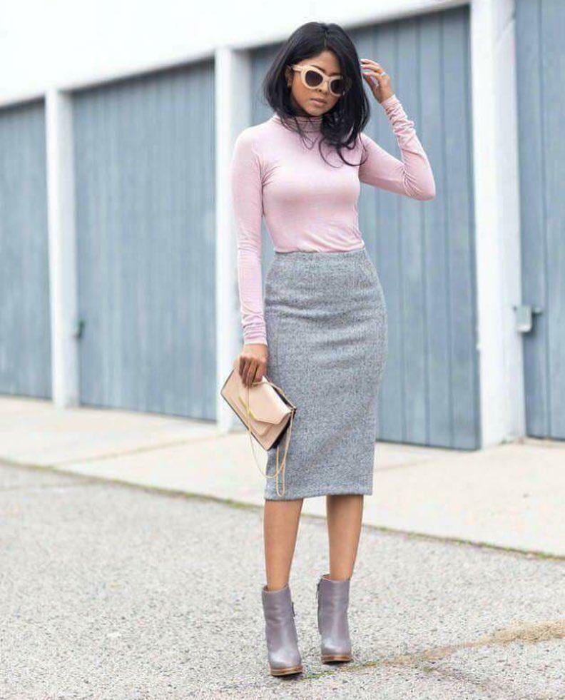 Ботильоны в цвет юбки карандаш - новая фишка модного сезона.