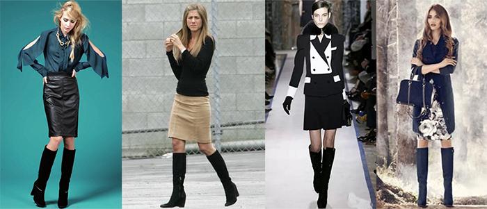 Черные сапоги - лучшее дополнение юбки карандаш.