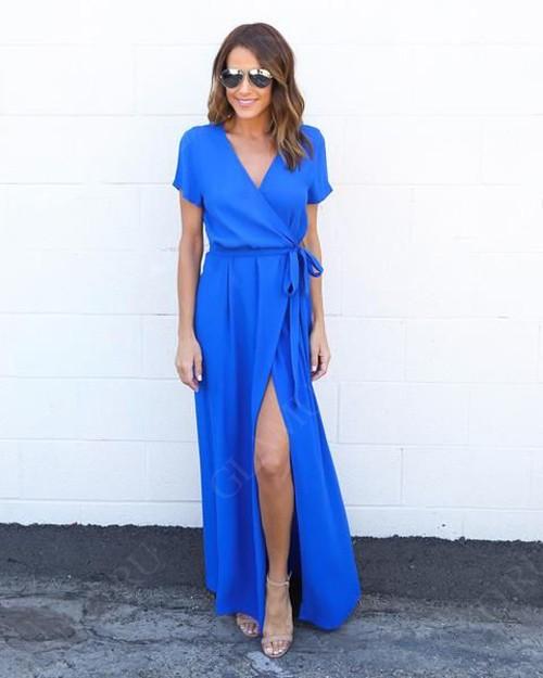 синие платье с запахом
