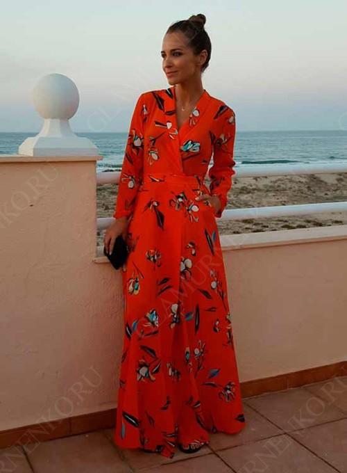 ярко-кораловое платье с запахом