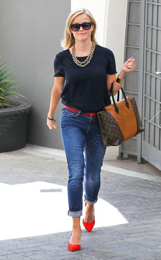 пример стилистических направлений сочетаемых с красными туфлями