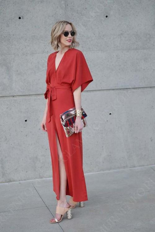 красное макси платье в запах