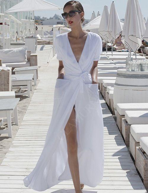 белое длинное платье в запах