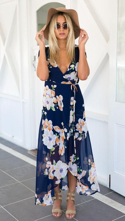 платье в запах с цветочным принтом