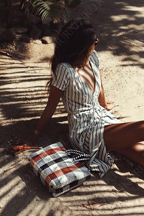 полосатое платье в запах