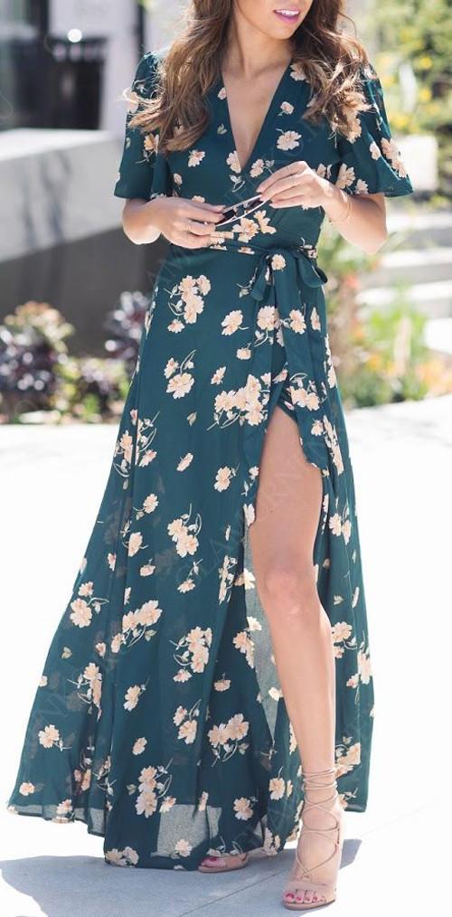 цветочное макси платье в запах