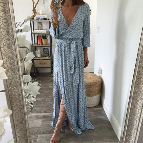 голубое макси платье с запахом