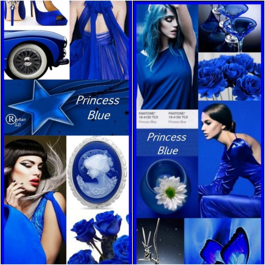 Стилисты рекомендуют сочетать оттенок Синяя Принцесса с контрастными яркими Turmeric и Mango Mojito
