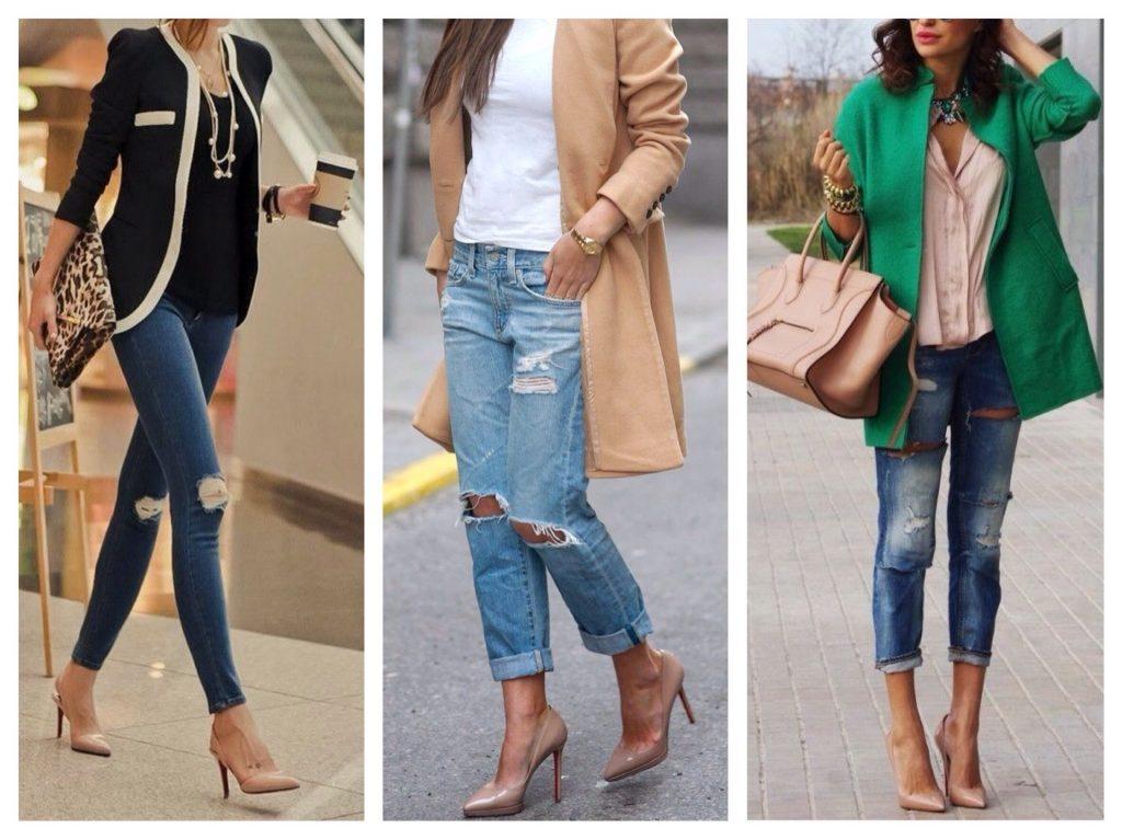 Бежевые лодочки на каблуке отлично смотрятся с зауженными брюками и джинсами