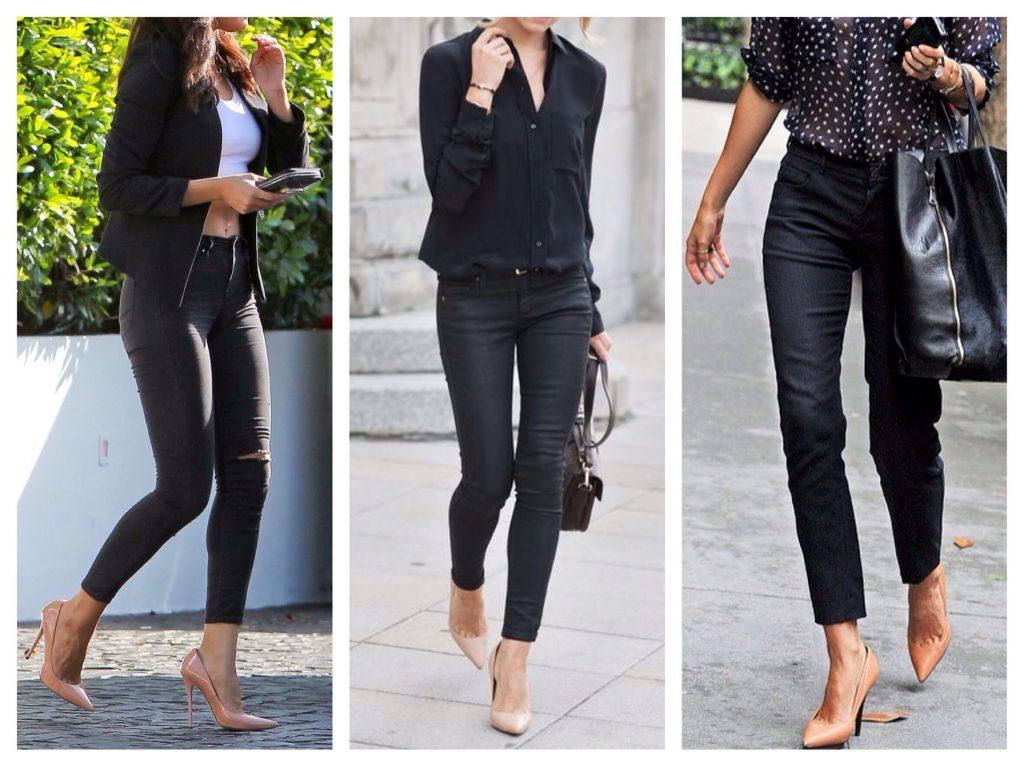 Бежевые туфли отлично оттенят черный тотал-лук.