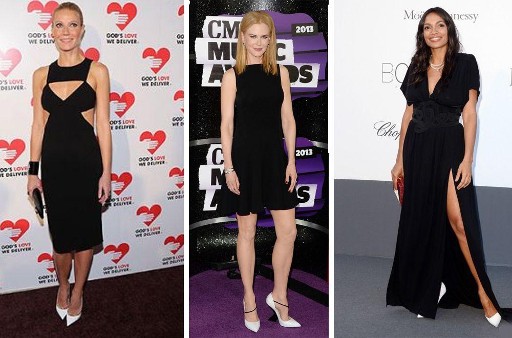 Белые туфельки – идеальный спутник большого и маленького черного платьица.