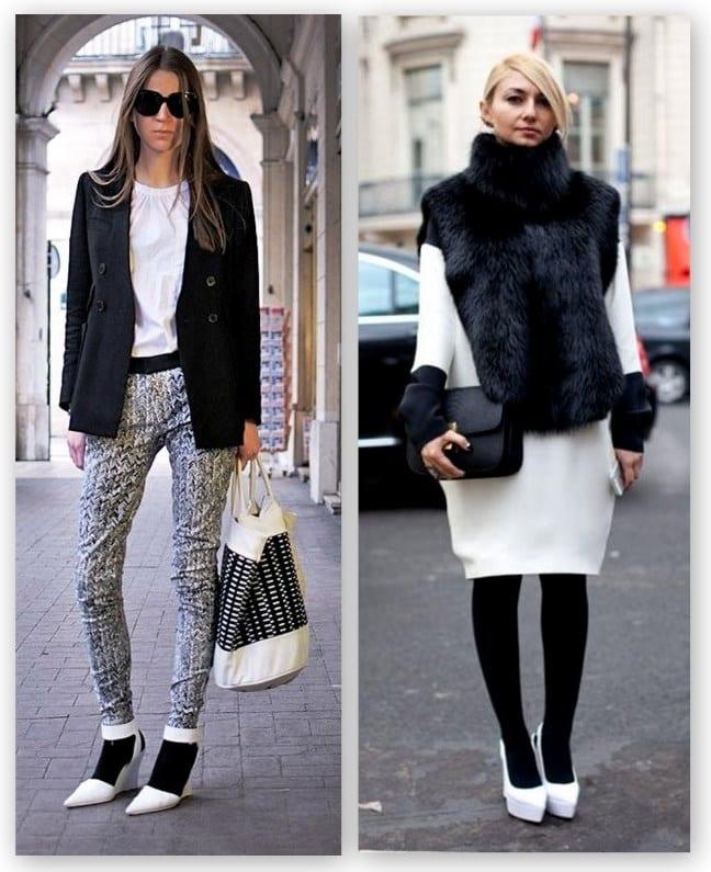 Белые туфли с черными колготками и носочками – это новая классика!