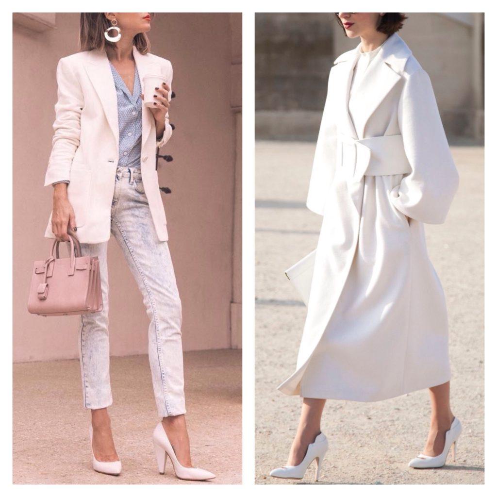 Белые туфли в сочетании со светлым луком визуально вытягивают силуэт.