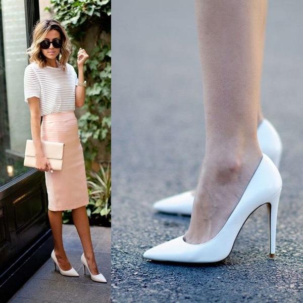 Белые лодочки всегда беспроигрышны в сочетании со светлыми юбками-карандашами.