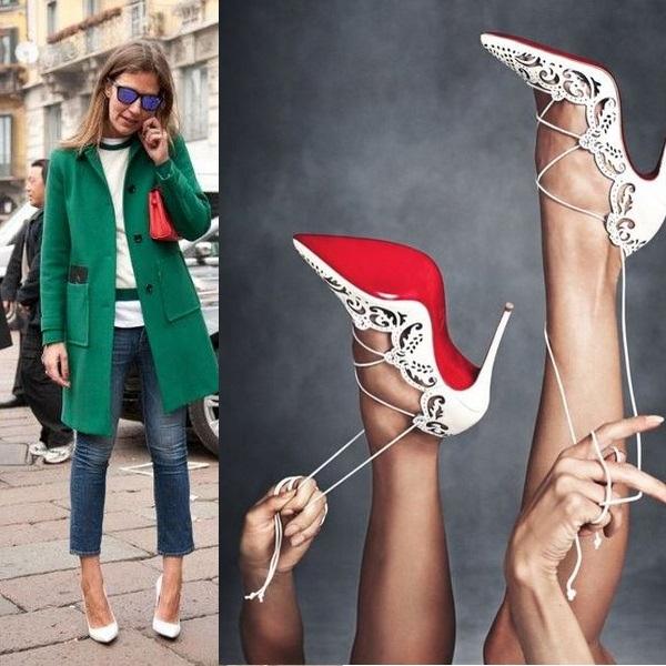 Белые туфли на каблуке с узким носом – воплощение элегантности даже в повседневном ансамбле.