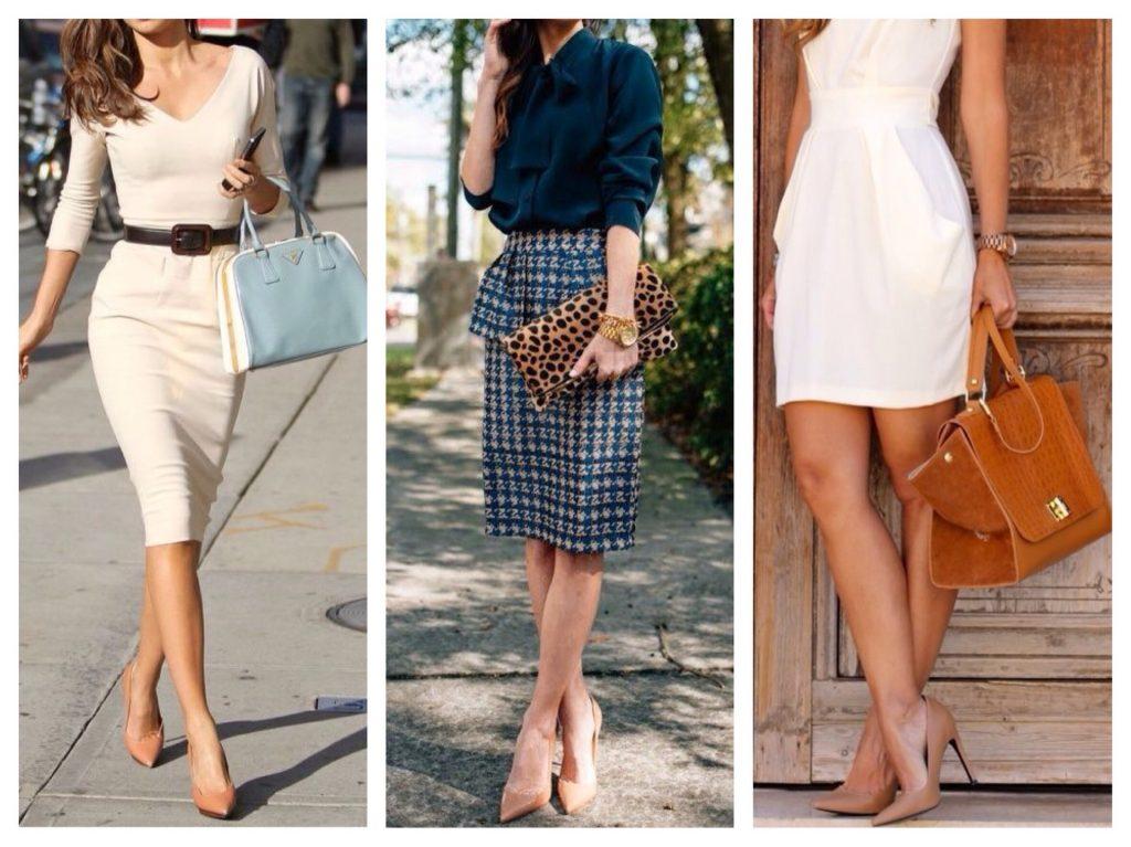 Платья и юбки-карандаши идеально дополняются бежевыми туфельками.