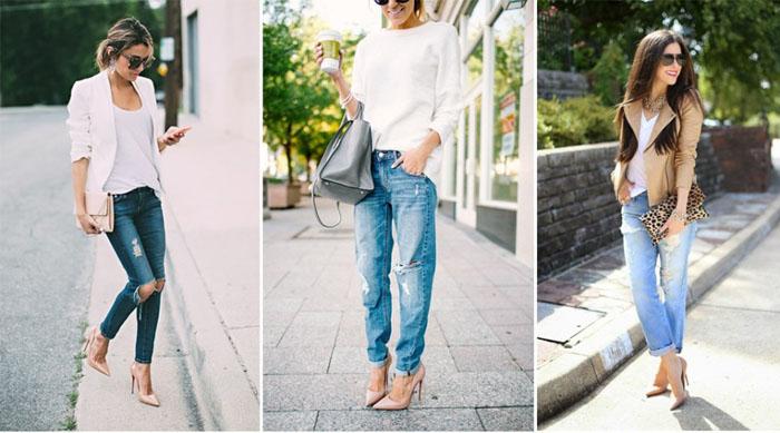 Светлый верх и лодочки в сочетании с джинсами выглядят мило и очаровательно.