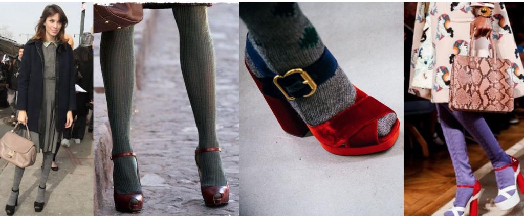 """Чем """"тяжелее"""" босоножки под колготки, тем изящнее смотрятся ножки."""