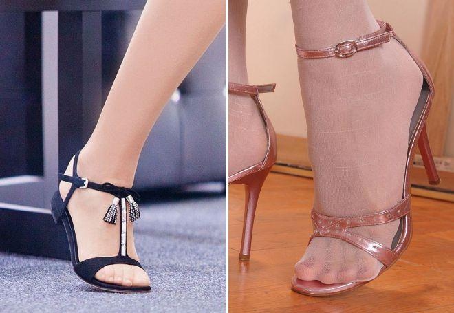 Тонкие ремешки на колготках визуально полнят ногу.