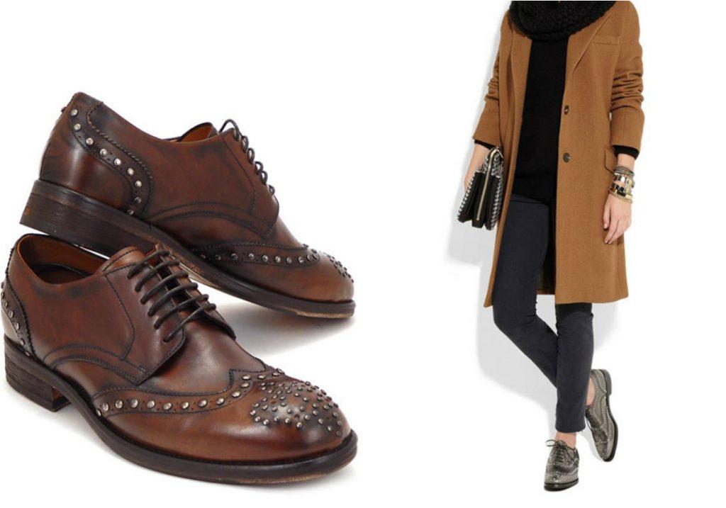 Мужской характер ботинок дерби всегда подчеркнет женственность леди.