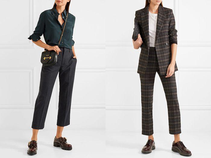 Туфли дерби с укороченными, строгими брюками смотрятся особенно изящно и подходят для офисного стиля.