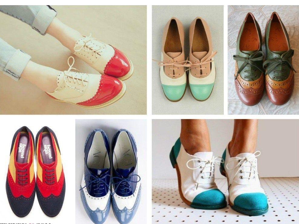 Яркие, разноцветные дерби смотрятся очень необычно и сделают честь гардеробу каждой модницы.