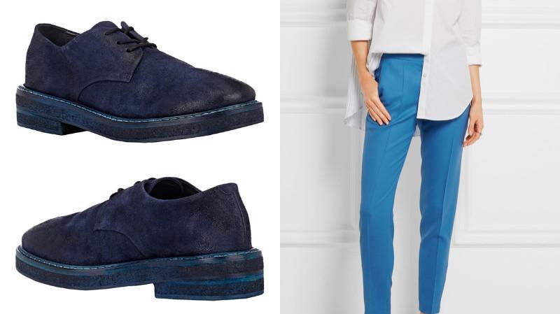 Замшевые дерби в тон брюкам смотрятся элегантно и стильно.