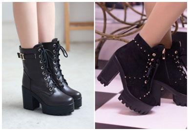 Ботинки на каблуке красиво подчеркивают изящество ног.