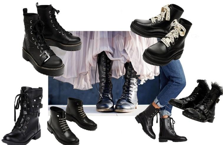 Черные ботинки на шнуровке универсальны и уместны в любом образе.