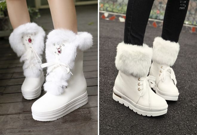 Белые меховые ботиночки смотрятся невероятно нежно и изящно.