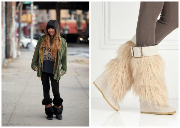 Меховые ботинки с узкими брюками – лучшее решение зимнего образа.