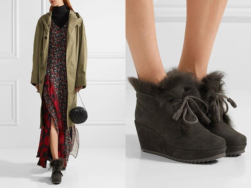 Меховые ботинки подчеркнут красоту легкого платья.