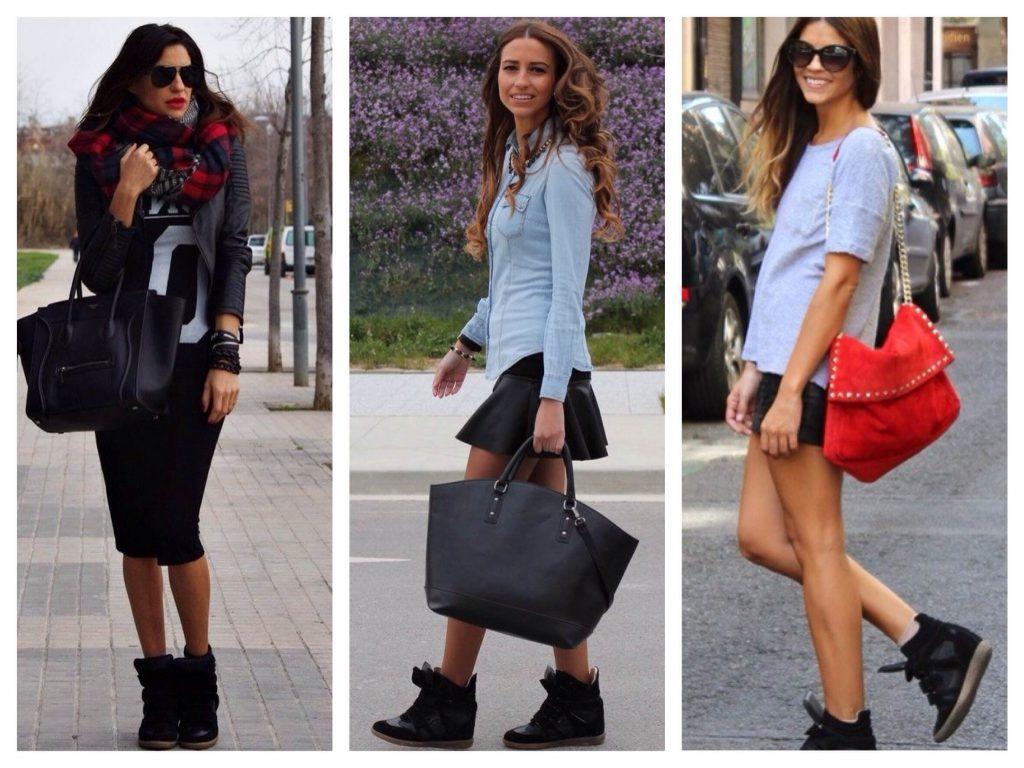 Черные спортивные ботинки прекрасно сочетаются с черными юбками мини и миди.