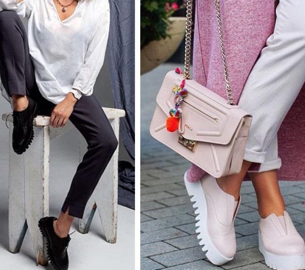 Стильное сочетание лаковых туфлей с черным и пастельным луком