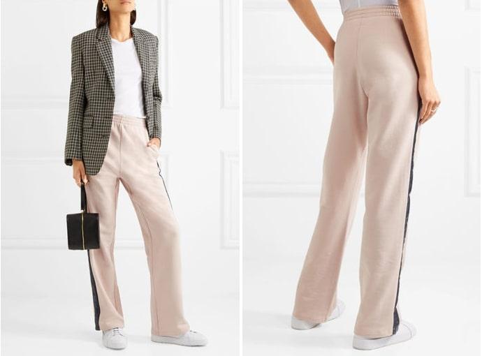 При дополнении брюк с лампасами кроссовки могут быть либо нейтрального цвета, либо в тон с лентами