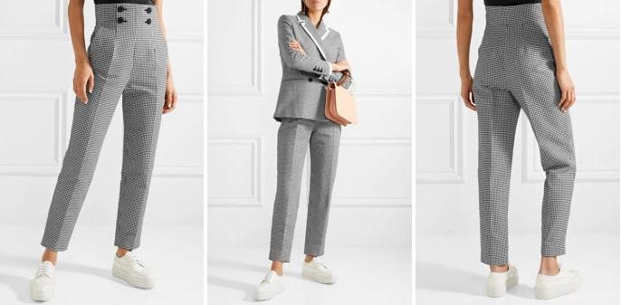 Классический серый костюм в паре с белыми кроссовками