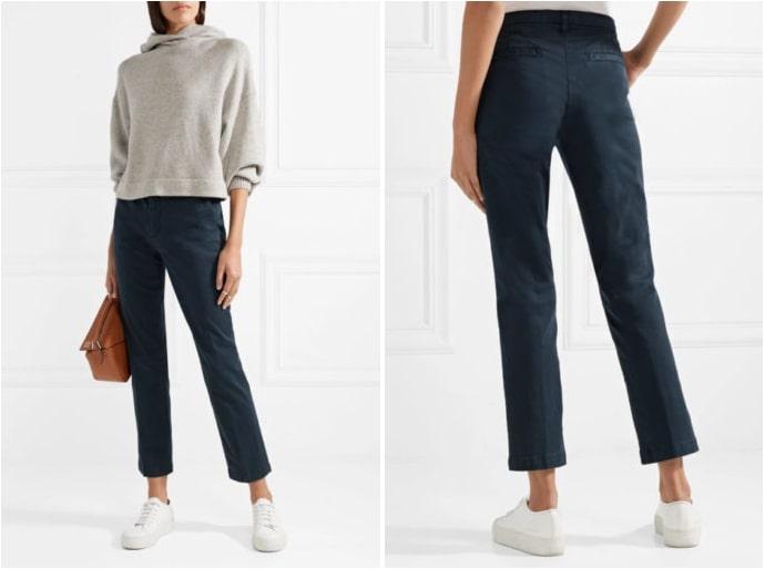Синие брюки могут быть дополнены кроссовками белого или золотого цвета