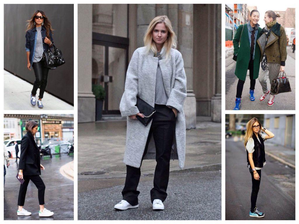 Уличные белые кроссовки хорошо подходят под классические наряды