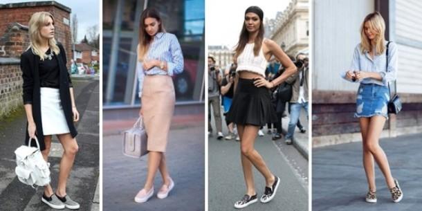 Слипоны с юбками миди и мини подчеркивают стройность ног.