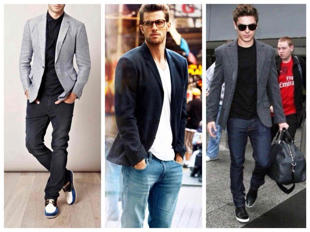 Классические сочетания джинсов с кроссовками.
