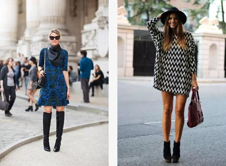 Платья в прохладную погоду можно дополнить высокими сапогами и низкими ботинками
