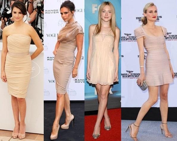 Известные личности нередко прибегают к нарядам телесного цвета, которые дополняются обувью того же оттенка