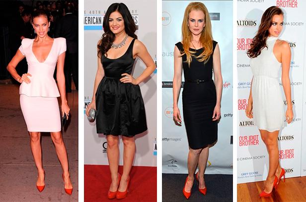 Классическое черное платье идеально сочетается с сочными, красными туфлями-лодочками