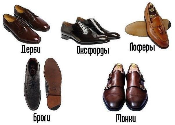 Основные виды мужских туфель.
