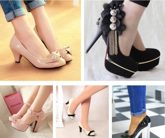 Разновидности каблуков: низкий (до 4 см), средний (5-9 см) и высокий (10 см и более)