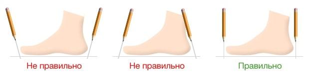Чтобы точно очертить длину стопы, необходимо держать карандаш строго перпендикулярно поверхности