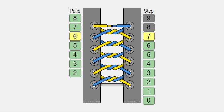 Схема шнуровки с узлами.