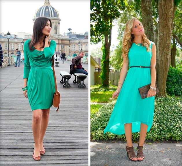 Коричневая обувь в паре с зеленым платьем - идеальный, свежий ансамбль.