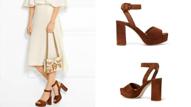 Коричневая обувь прекрасно сочетается с бело-молочными летними ансамблями.