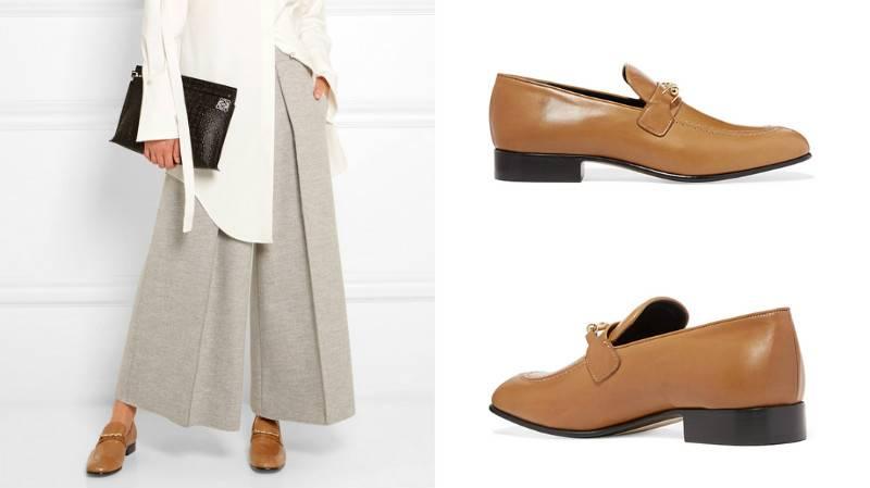 Туфли цвета мокко отлично дополнят пастельный лук.